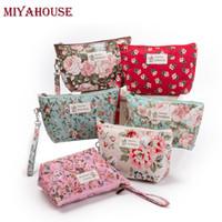 ingrosso floreale compongono borsa-Borse per trucco femminile Miyahouse Borse vintage floreali per cosmetici Borsa da viaggio per donna