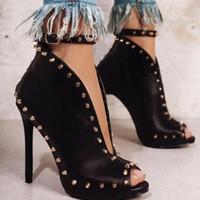 chaussure de cheville peep toe noir achat en gros de-szsgcn84 NOUVEAUTÉ Automne Été Femmes Chaussures Bottines À Talons Bas Chaussures à Talons Chaussures Femmes Bottines Rivets Boucle Moto Bottes Pour Femmes Noir