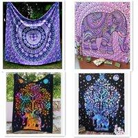 Wholesale peacock throw - Tapestries Bohemian Mandala Beach Tapestry Hippie Throw Yoga Mat Towel 150*130cm Elephant Peacock Shawl Bath Towel 20pcs