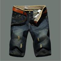 joelho comprimento denim capris venda por atacado-Marca Designer-Verão Classe Mens Shorts Jeans Reta Denim Respirável dos homens Jeans Moda Casual Men Na Altura Do Joelho Jeans