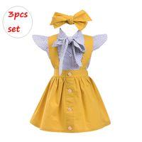 polka tutu al por mayor-Conjunto de ropa de patchwork de niña pequeña INS 3PCS Outfit para niñas falda amarilla de lunares de manga corta con diadema