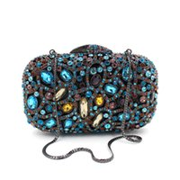 ingrosso borse a mano blu designer-Borse a mano da donna blu scuro con cristalli Pochette da donna di marca frizione di alta qualità con frange di alta qualità con catena