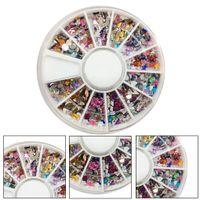 ingrosso kit day per arte 3d-2018 New 3D Nail Art Tips Black Gems Crystal Glitter strass DIY Kit decorazione unghie