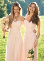 ingrosso junior vestiti rosa chiaro-Abiti da damigella d'onore in chiffon lungo a buon mercato con abiti da damigella d'onore, stile damigella d'onore
