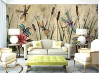 Wholesale art lotus oil painting for sale - Group buy Personalized Dragonfly Lotus Mural Wallpapers Eurpoean Vintage Large Photo Murals Oil Painting Print Decal Wall Art Wall Paper