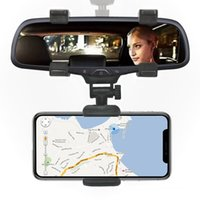 Wholesale smart car rear online - Car Phone Holder stand Rear View Mirror Holder Degree for iPhone Samsung Smart Phone GPS Universal Support navigation