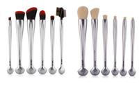 Wholesale makeup brush tubes for sale - Group buy 6pcs Silver Aluminum Tube Wool Makeup Brushes Blush Foundation Brush Shell Designs Professional Eyeshadow Eyelashes Brushes Set