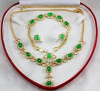 anel colar earing venda por atacado-Frete Grátis conjunto especial 0041 colar de zircão, brinco, pulseira, conjunto de anel