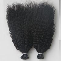 keratin uçlu saç uzatmaları toptan satış-Virgin Moğol Afro Kinky Kıvırcık Saç Tüm kafa 200G ben İpucu İnsan Saç Uzantıları Öncesi Gümrük keratin sopa ucu saç uzatma 200S