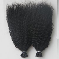 Wholesale keratin human hair extensions tip resale online - Virgin Mongolian Afro Kinky Curly Hair Whole head G I Tip Human Hair Extensions Pre Bonded keratin stick tip hair extensions S