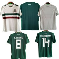 Wholesale thailand soccer jerseys free shipping - Top quality World cup 2018 CHICHARITO home green G.DOS SANTOS R.MARQUEZ thailand quality Mexico soccer Jersey free shipping