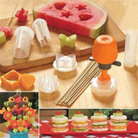 Wholesale decoration plastic fruit - HF054 6pcs Set Vegetable Fruit Carving Gadget DIY Fruit Salad Mold For Kitchen Cake Decoration Tools