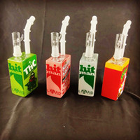 bolbos de vidro exclusivos venda por atacado-2018Square caixa de suco De Vidro Bongo De Água Bebida Box Reciclador Oil Rigs Único Dos Desenhos Animados Bubblers Frete grátis