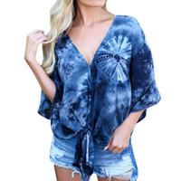 kadın yarı gömlekler toptan satış-Kadın Üstleri ve Bluzlar 2018 Için yaz Tops Streetwear Baskı Ön Kravat V Boyun Yarım Kollu Gömlek Tunik Bayanlar Giysileri Womens