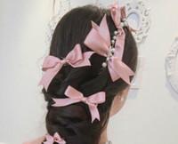 vestido de novia corbata de lazo blanco al por mayor-Novias coreanas Headwear Bow Tie Set Accesorios de boda accesorios del vestido de boda, blanco púrpura tres colores