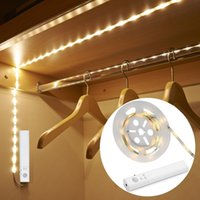 Wholesale lighting strips motion sensors - LED Dual Mode Motion Night Light Battery Operated Flexible LED Strips with Motion Sensor Closet Light for Bedroom Cabinet Warm White