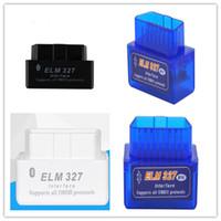 drehmoment obd2 großhandel-ELM327 BT Bluetooth OBD2 Großhandel Schwarz Blau Weiß Super Mini Bluetooth OBDII Elm327 Unterstützung Alle Obdii V2.1 Drehmoment