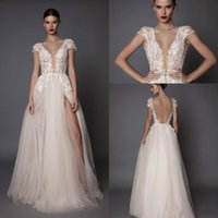 Wholesale wedding dress lacing sides online - New Designer A Line Wedding Dresses Deep V Neck Tulle Side Split Cap Sleeve Cheap Bridal Beach Open Back Berta Wedding Gowns