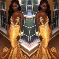 muchachas del vestido de noche del terciopelo al por mayor-2018 Velvet Sexy Sheer Neck Mermaid Prom Vestidos Oro Apliques African Black Girls Vestidos formales Tallas grandes Vestidos De Festa