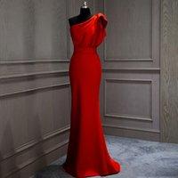 vestido de cocktail tribunal venda por atacado-Elegante tafetá vermelho longo cocktail dress um ombro com babados sereia tribunal trem baile de finalistas dress vestido de festa avondjurk