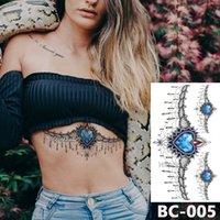 tatouage à la taille achat en gros de-1 feuille poitrine corps tatouage temporaire étanche bijoux en forme de coeur en dentelle saphir bleu motif decal taille tatouage autocollant