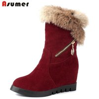 Wholesale Calf Height Boots - Asumer big size 32-44 winter women shoes unique thick fur warm snow boots round toe height increasing platform half boots