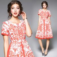 Wholesale Elegant Slim Office Dress - Spring Summer New Cotton Print Slim Short Sleeve Dress Women Elegant Office Clothes Plus Size S XXL