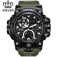 büyük led saatler toptan satış-Erkekler için SMAEL Spor Saatler Su Geçirmez LED Dijital İzle erkek Kol Saati Saat Adam 1545C Büyük Erkek Saatler Askeri Montre Homme