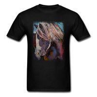 saf pamuk gömlek erkek toptan satış-Sokak Tarzı Yayla Midilli Üst T Shirt Erkek T Shirt Moda Tshirt Yaz Güz Kısa Kollu Saf Pamuklu Giysiler Siyah At Tees