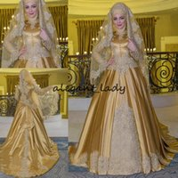 Wholesale golden wedding gowns for sale - Group buy Satin Beaded Applique Bow Muslim Wedding Dresses Vintage Long Sleeve Golden High Neck Kaftan Caftan Wedding Bridal Gowns