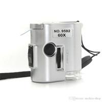 microscopio de luz uv al por mayor-Mini 60X Microscopio Iluminado Lupa Cristal Joyero Lente de la lupa con LED UV Light Watch Repair Tool