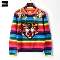 Wholesale Long Spring Sweaters Women - Letter Autumn Runway Designer Women Sweater Pullover Tiger Head Rianbow Striped Spring Embroidery Floral Rainbow Striped Knitted Top Jumper