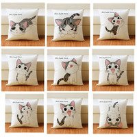 Wholesale knit cat pattern resale online - Cartoon Style Cat Pattern Pillow Case Digital Printing Flax Moistureproof Water Proof Cushion Cover Eco Friendly Pillowslip ym jj