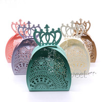 Wholesale Laser Cut Gift Box Design - Laser Cut Lace Candy Box Hollow Carriage Gifts Box vintage design for DIY Wedding Party Baby Shower Birthday Decoration Favor supplies