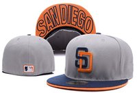 Wholesale cap city hats - One Piece SD Fitted Baseball Hats In Gray Color City Name Under The Flat Brim Padres Sports Team Closed Caps Bones Free Shipping