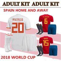 Wholesale green football socks - world cup Spain adult Jersey full set with socks 2018 ISCO INIESTA ASENSIO MORATA home soccer shirt Football uniforms sales Spain kits