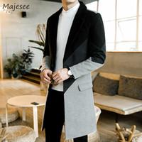 erkek tekli gömlek palto toptan satış-Yün Erkekler Ceket Uzun Artı Boyutu Patchwork Kore Sıcak Erkek Palto Moda Ince Tüm Maç Tek Göğüslü Palto Turn-aşağı Yaka