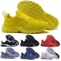 Wholesale fine fabrics - 2018 Running Shoes Fine Mesh Breathable Presto Blackout Cheap Sneaker Red Navy Blue Triple White Black Fall Olive size eur 36-46