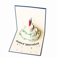 el yapımı kek 3d kart toptan satış-Toptan-Yeni Doğum Günü Pastası 3D kağıt lazer kesim pop up el yapımı kartpostallar özel hediye tebrik kartları parti malzemeleri