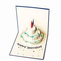 tarjeta de pastel emergente al por mayor-Venta al por mayor- El más nuevo pastel de cumpleaños de papel 3D cortado con láser hace aparecer tarjetas postales hechas a mano de regalo tarjetas de felicitación personalizadas fuentes para fiestas