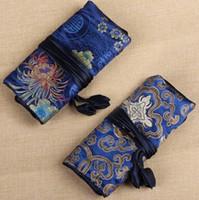 rulo seyahat ipek kuyumcu çantası toptan satış-Çin geleneksel Ipek Moda stil Kadınlar Takı Rulo Seyahat Depolama saten Çanta Ambalaj Torbalar karışık renkler ücretsiz kargo