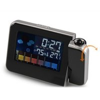 lcd led backlight оптовых-Attention Projection Digital Weather LCD Snooze Alarm Clock Projector Color Display LED Backlight