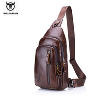 Wholesale Male Coffee - BULLCAPTAIN Fashion Genuine Leather Crossbody Bags men Brand Small Male Shoulder Bag casual men's music chest bags messenger bag