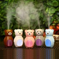 Wholesale Mini Ultrasonic Humidifier Wholesale - Mini USB Ultrasonic Humidifier Air Purifier for Car Home Office Desktop Cartoon Bear Air Fogger Mist Makers with LED Lights GGA268