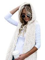 Wholesale girls waistcoat fur vest - 5 Colors Women's Sherpa Fleece Vest Winter Warm Hooded Waistcoat Outwear Casual Fashion Sleeveless Fur Zip Up Jacket for Girls Ladies