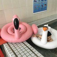 juguete inflable cisne piscina al por mayor-Bebé inflable Swim Ring Swan Flamingo Design Piscina para bebés Piscina flotante Anillos Asiento Barco para mar Playa Jugar con agua Juguetes Nueva llegada 22xr Z
