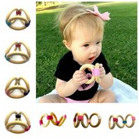 Wholesale toddler infant toys online - Infant Wood Ring Teether Baby Wooden Teething Ring Soothers Toddler Soothers Baby Grab Practice Toys OOA3926