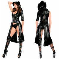 lingerie preta em couro de patente venda por atacado-Couro de Patente Macacão Lacado Catwomen Trench Coat Manto Gótico Lace-up Sexy Lingerie Cosplay Rainha Preta Traje