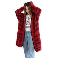 tıknaz süveter kadınları toptan satış-Moda Kadın Sonbahar Hırka Kazak Gevşek Boy Triko Kırmızı Mavi Ekose Tıknaz Örme Ceket Kadın Hırka Kazak Kış