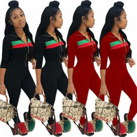 Wholesale Red Overalls For Women - Jumpsuit for women 2018 popular two piece bodysuit patchwork overalls full length slim body feminino
